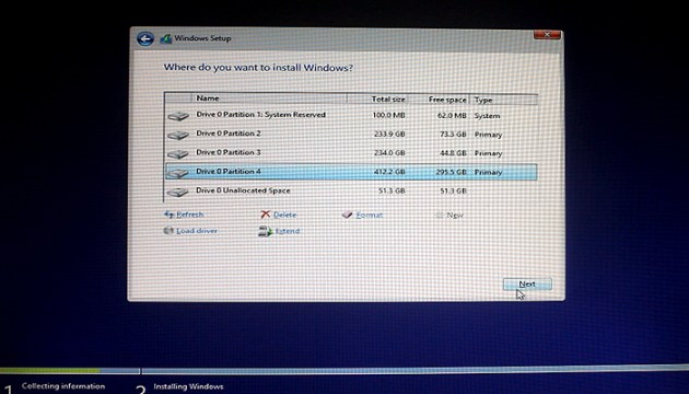 select-patrition-to-install-windows-8.1.